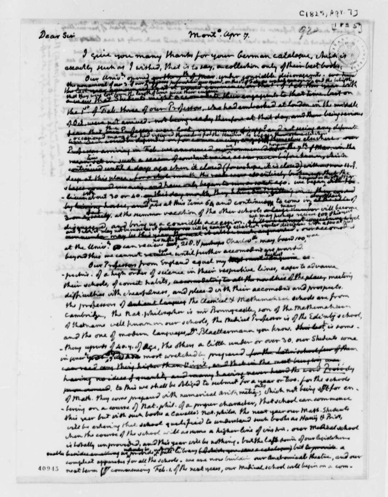 Thomas Jefferson to George Ticknor, April 7, 1825