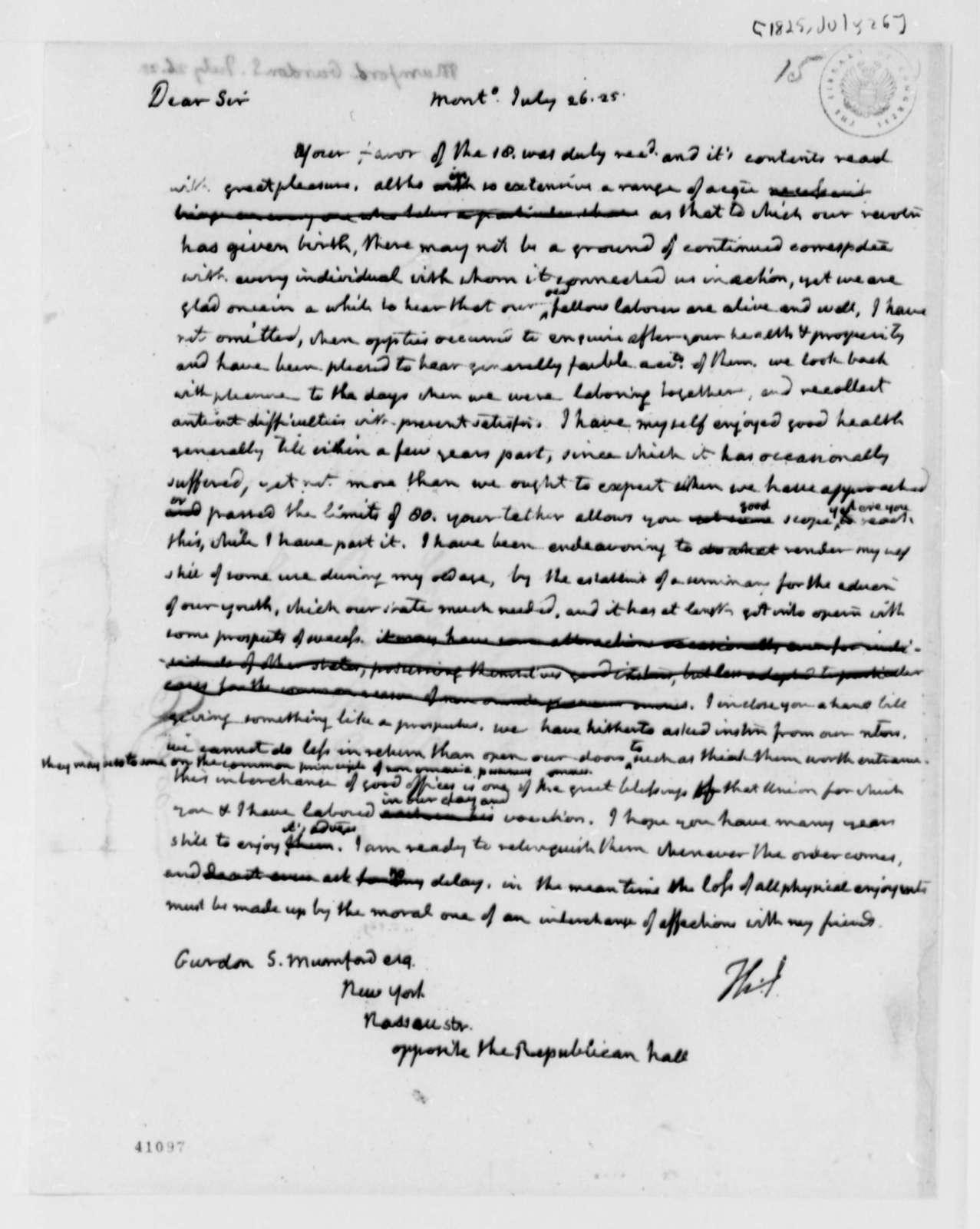 Thomas Jefferson to Gurdon S. Mumford, July 26, 1825