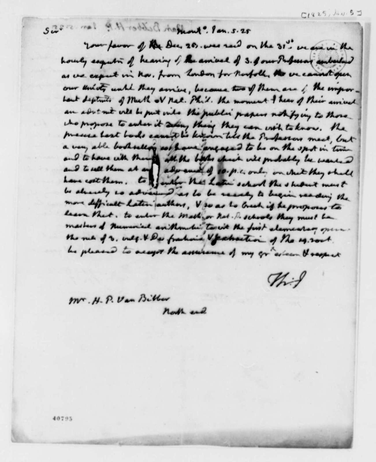 Thomas Jefferson to H. P. van Bibben, January 5, 1825