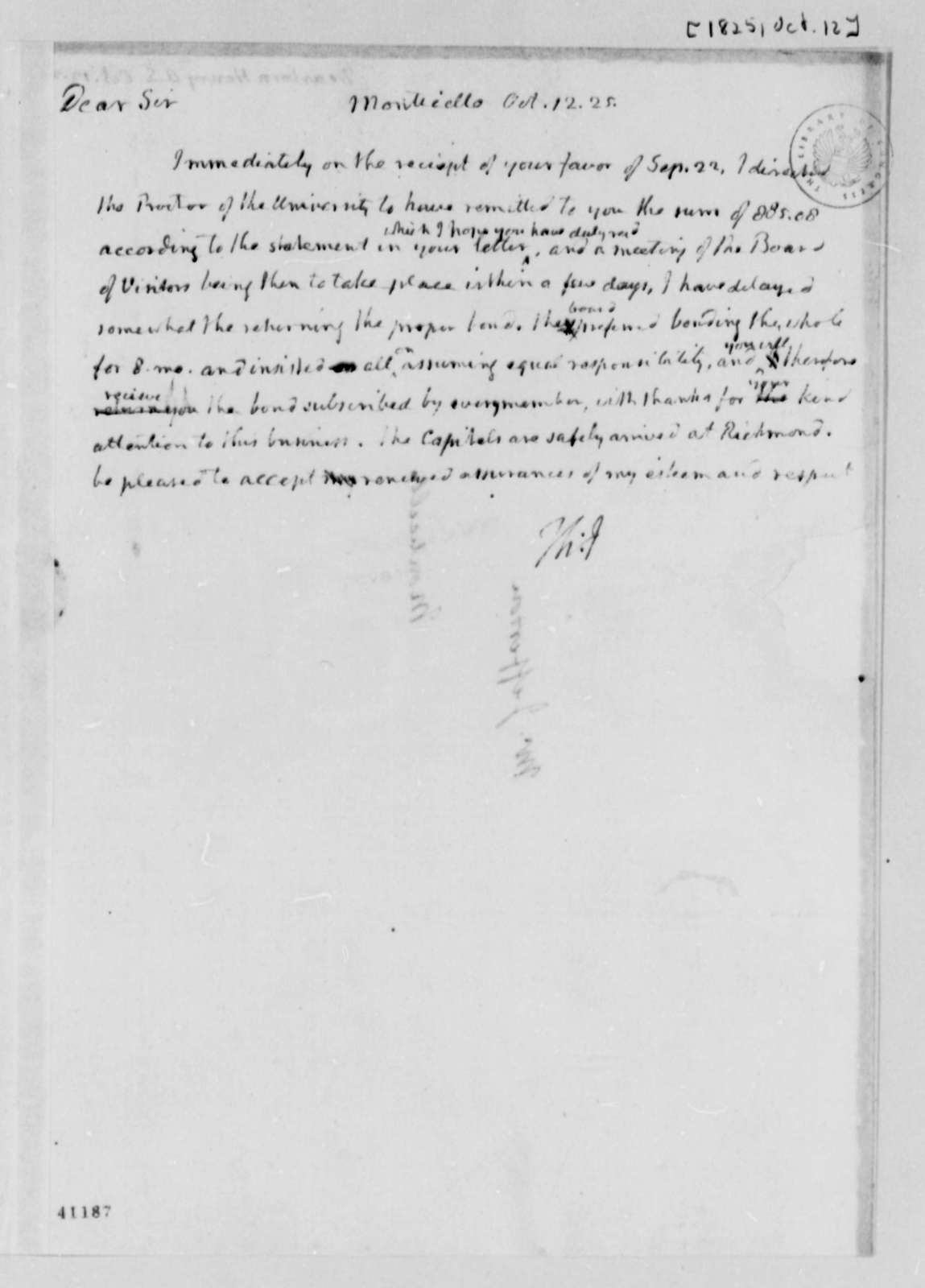 Thomas Jefferson to Henry A. S. Dearborn, October 12, 1825