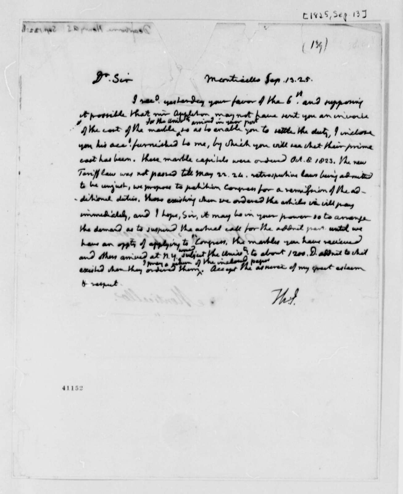 Thomas Jefferson to Henry A. S. Dearborn, September 13, 1825