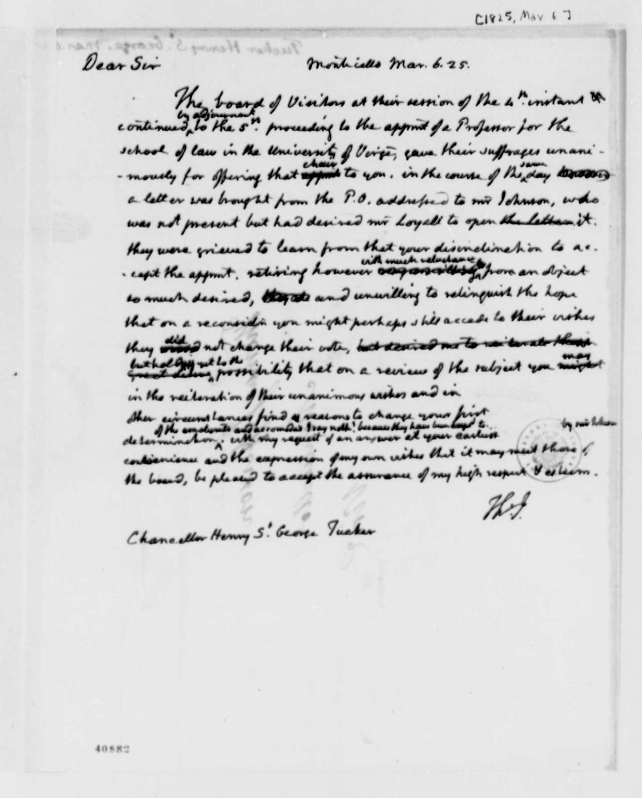Thomas Jefferson to Henry St. George Tucker, March 6, 1825