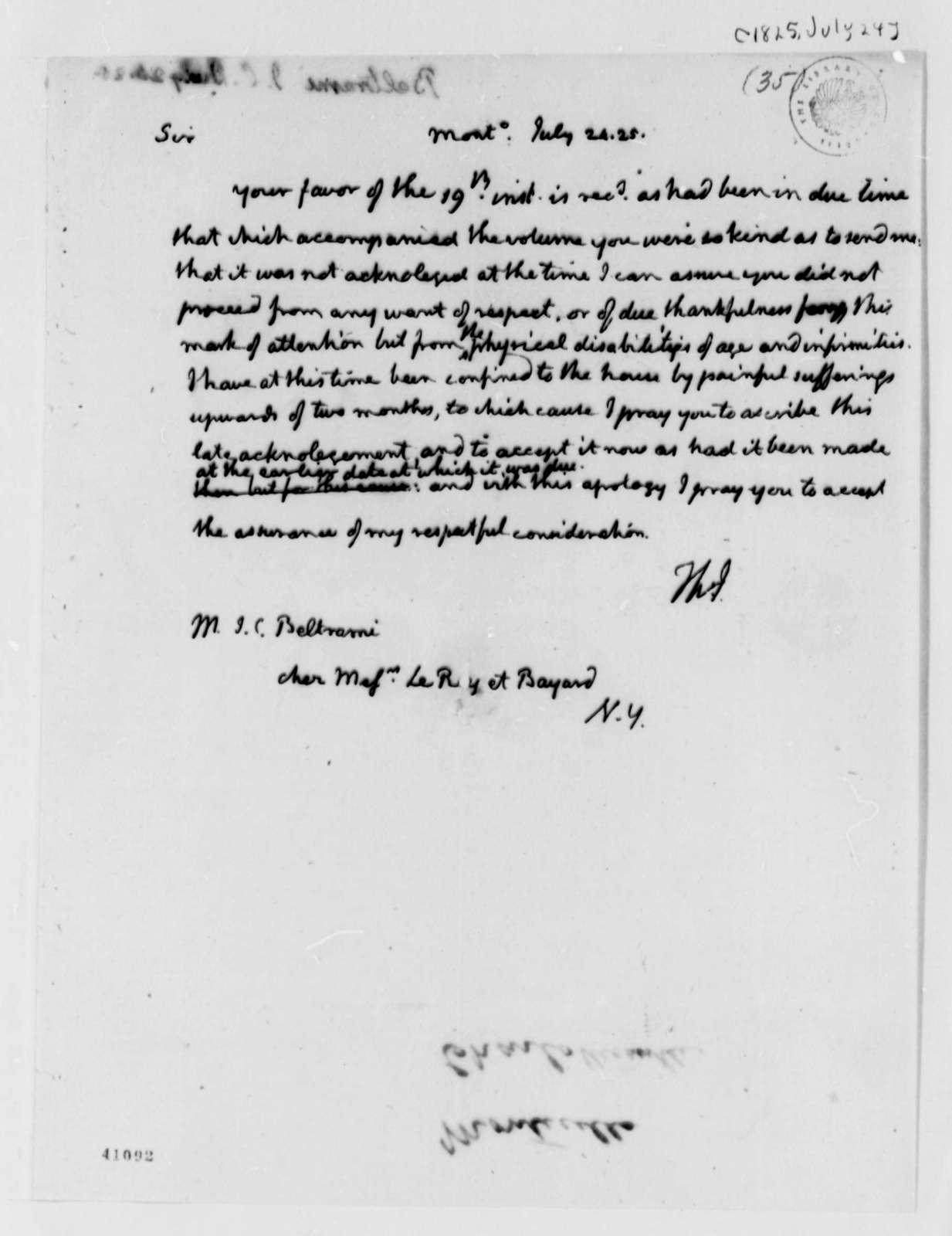 Thomas Jefferson to J. C. Beltrami, July 24, 1825