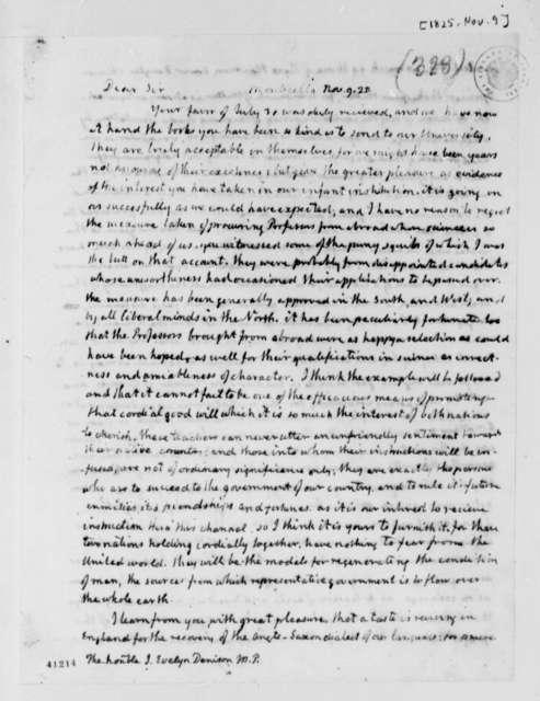 Thomas Jefferson to J. Evelyn Denison, November 9, 1825