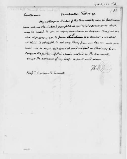 Thomas Jefferson to James Barbour and Littleton Waller Tazewell, February 15, 1825