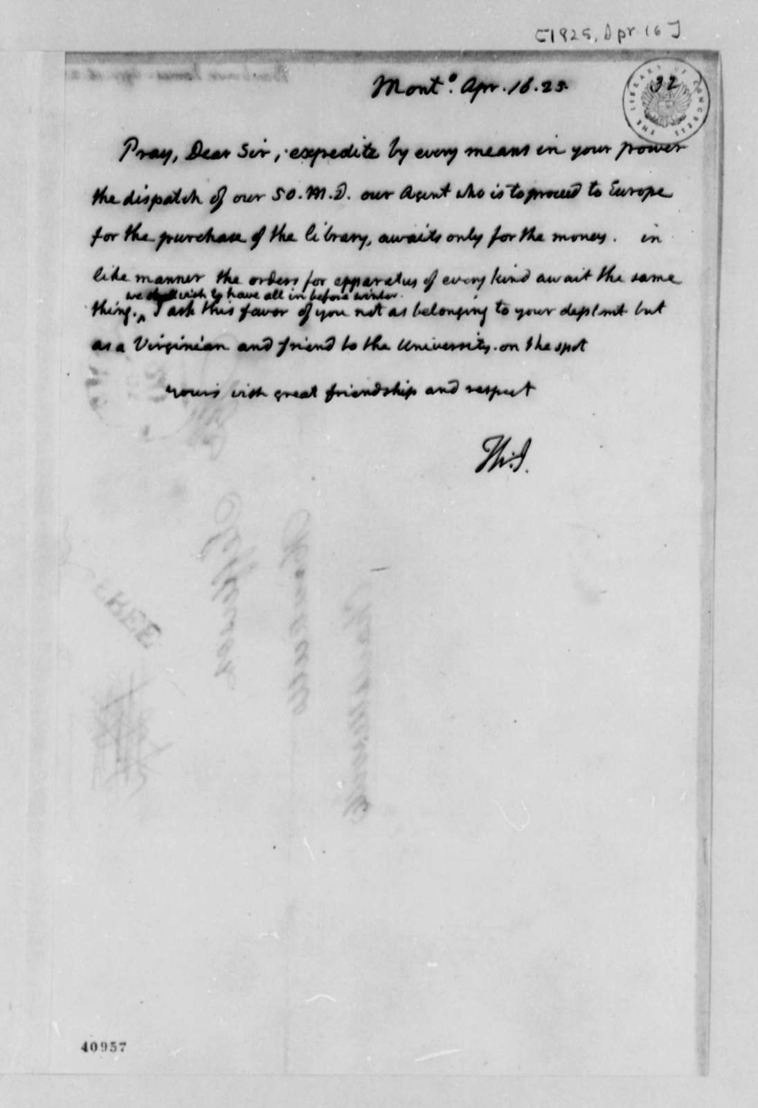 Thomas Jefferson to James Barbour, April 16, 1825