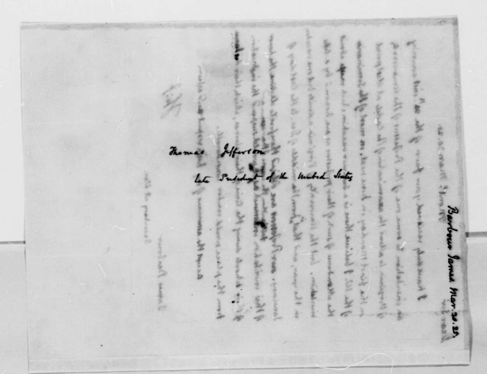 Thomas Jefferson to James Barbour, March 30, 1825
