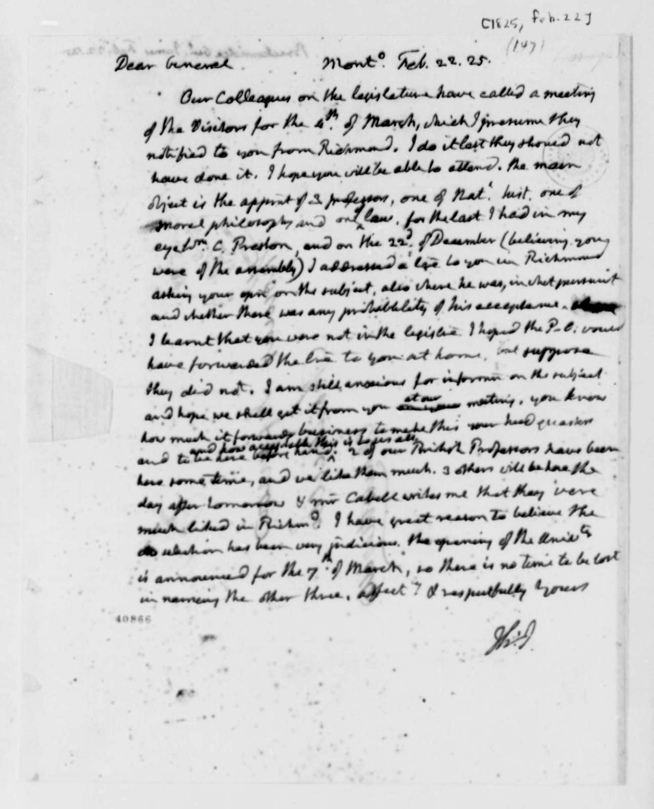 Thomas Jefferson to James Breckinridge, February 22, 1825