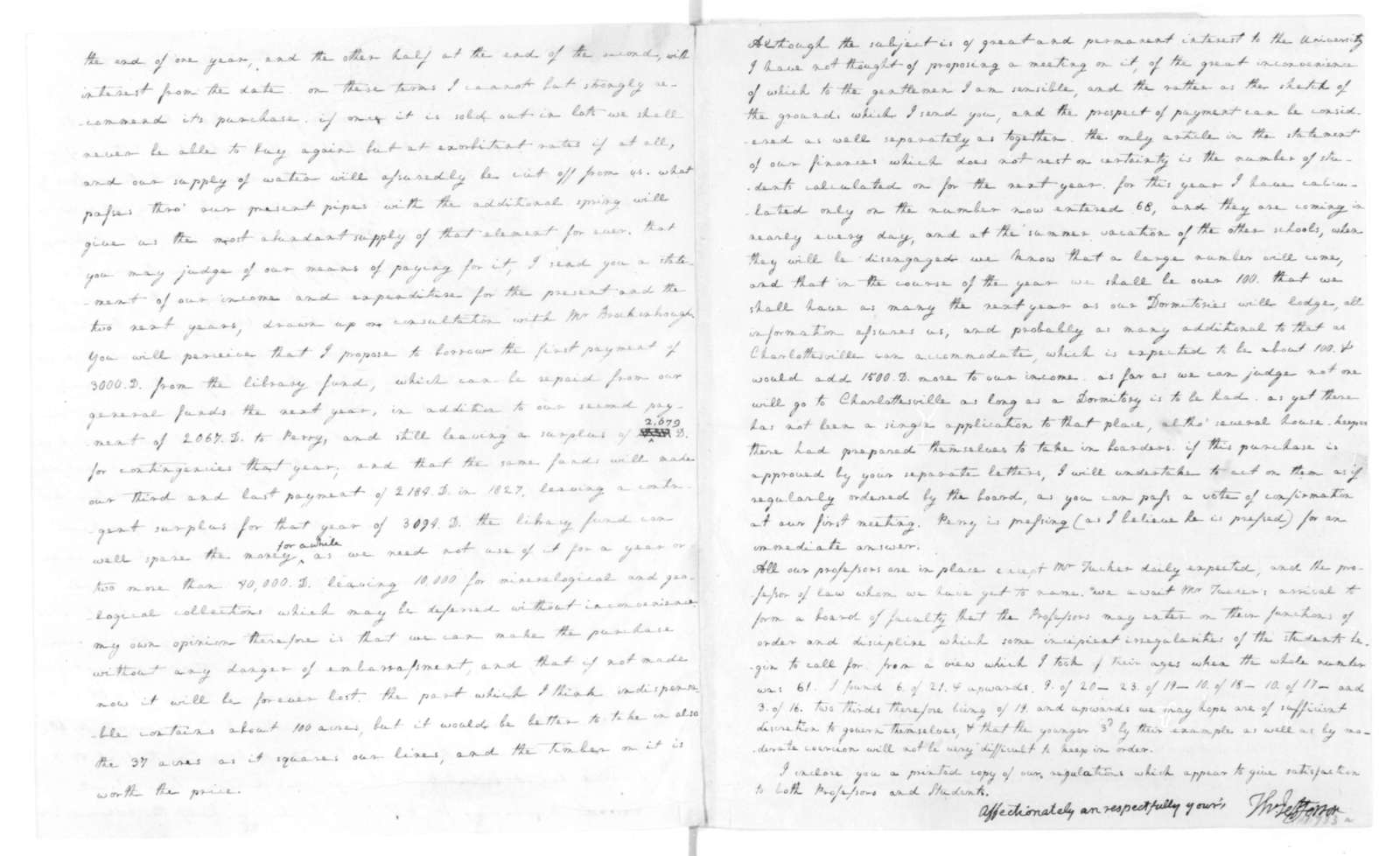 Thomas Jefferson to James Madison, April 15, 1825. Includes sketch and estimate of expenses for University of Virginia.