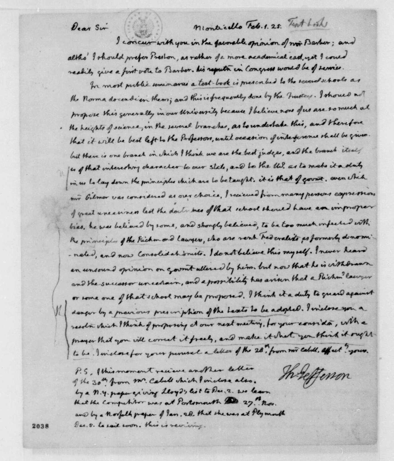 Thomas Jefferson to James Madison, February 1, 1825.