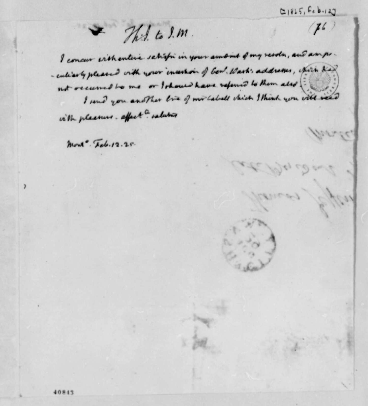 Thomas Jefferson to James Madison, February 12, 1825