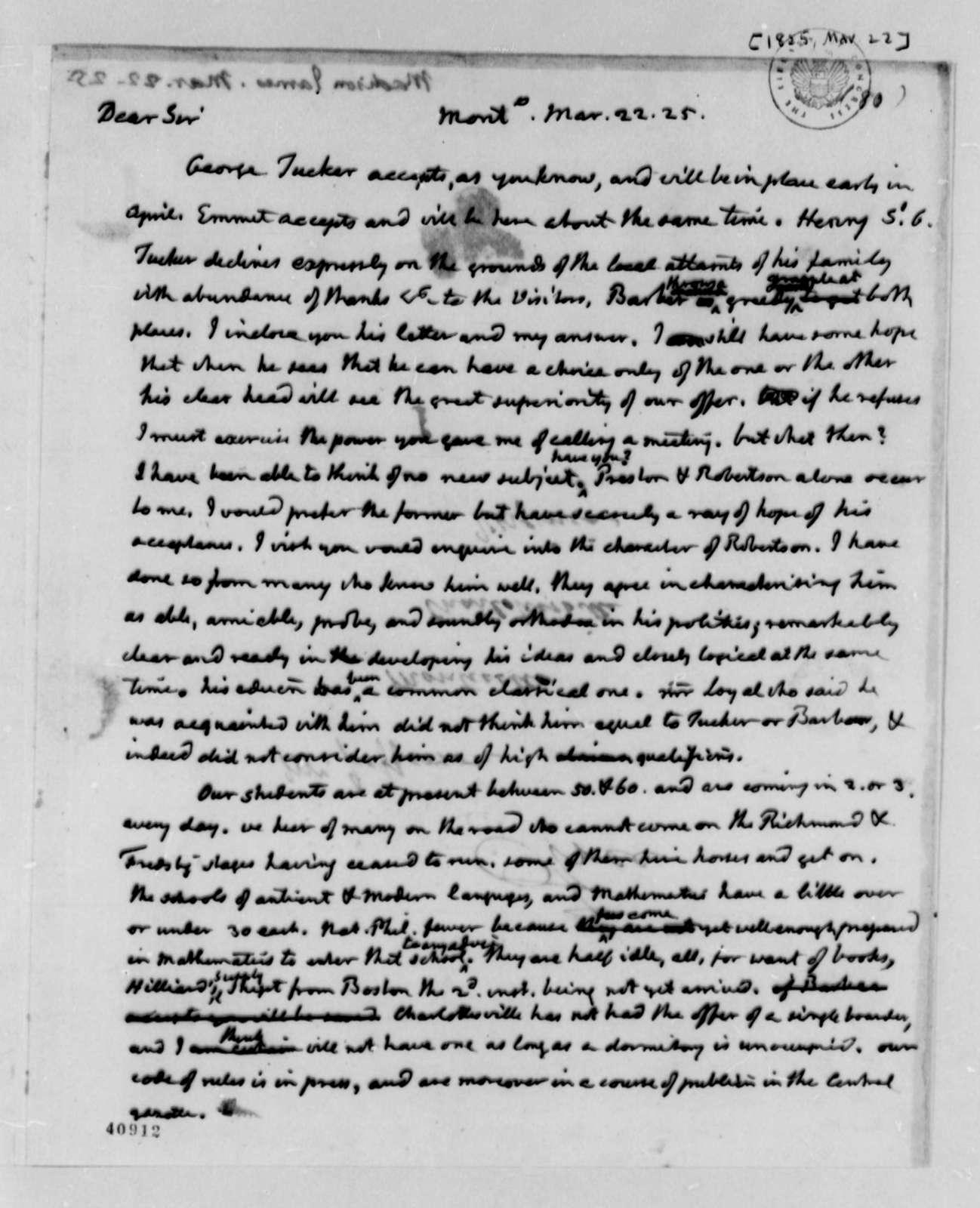 Thomas Jefferson to James Madison, March 22, 1825