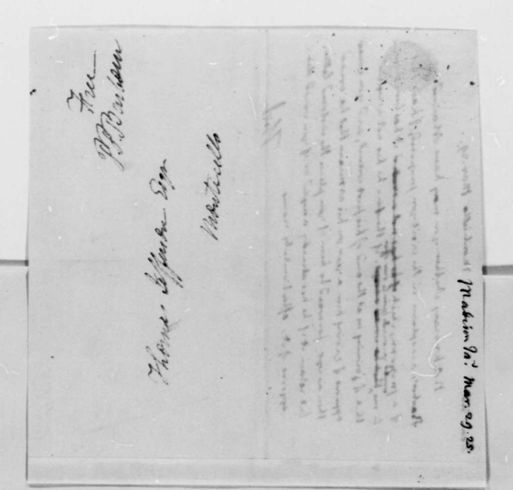 Thomas Jefferson to James Madison, March 29, 1825