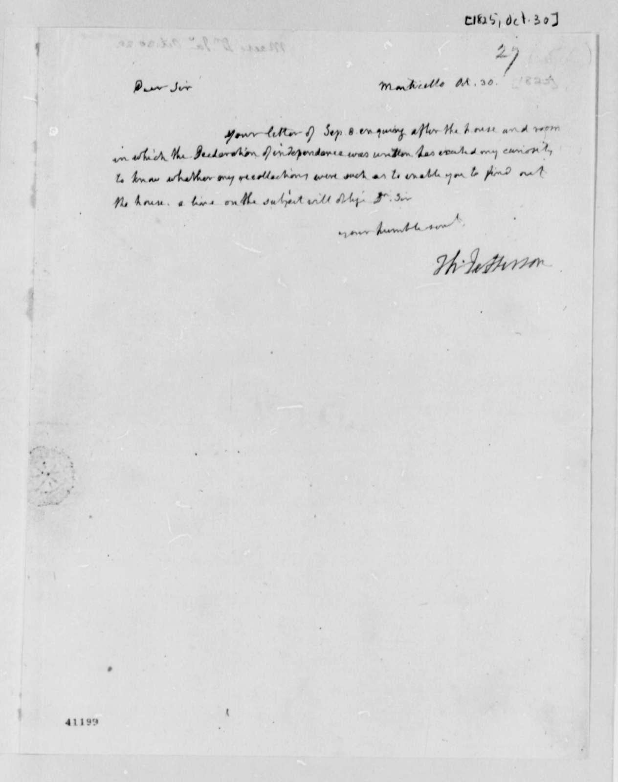 Thomas Jefferson to James Mease, October 30, 1825