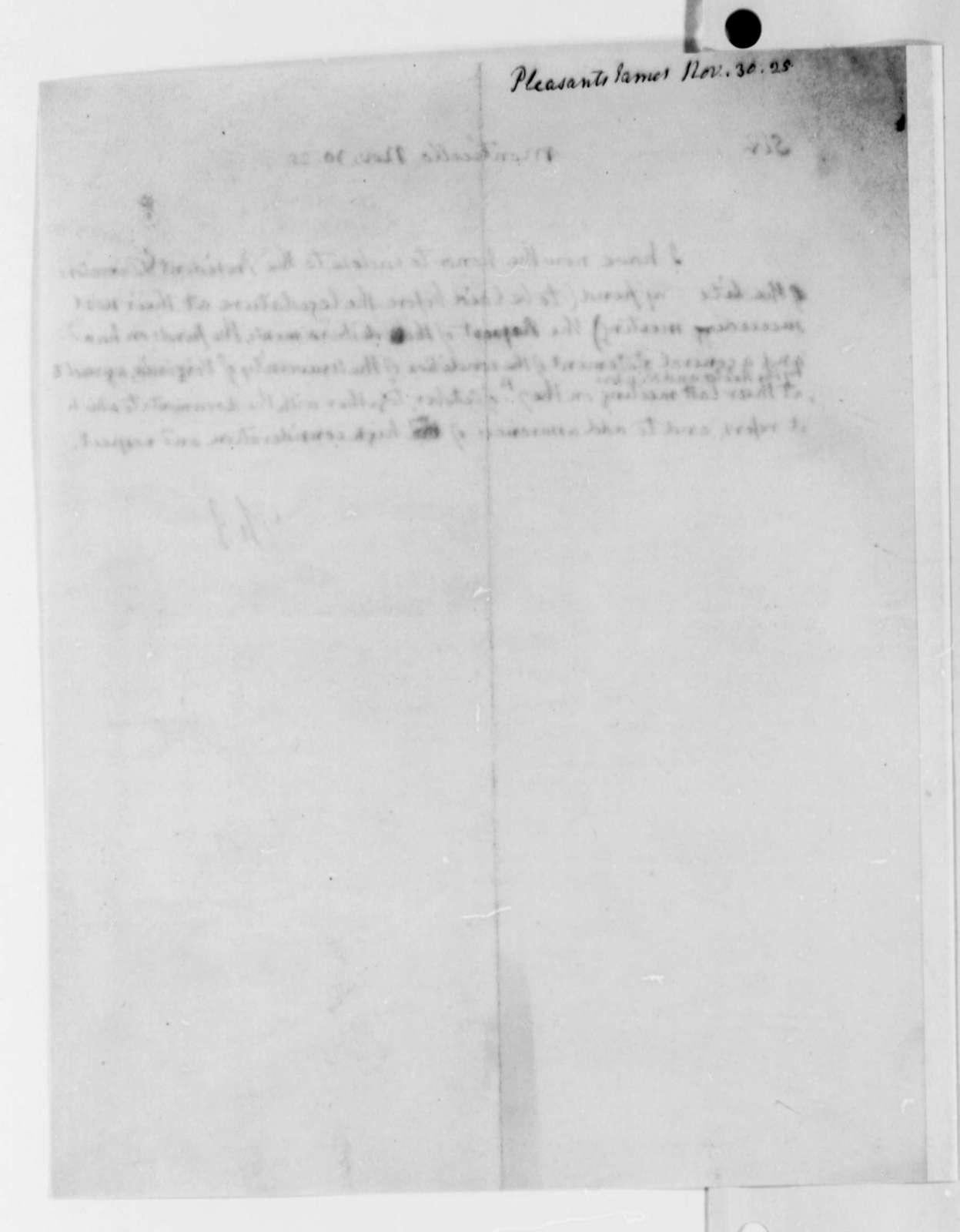 Thomas Jefferson to James Pleasants, November 30, 1825