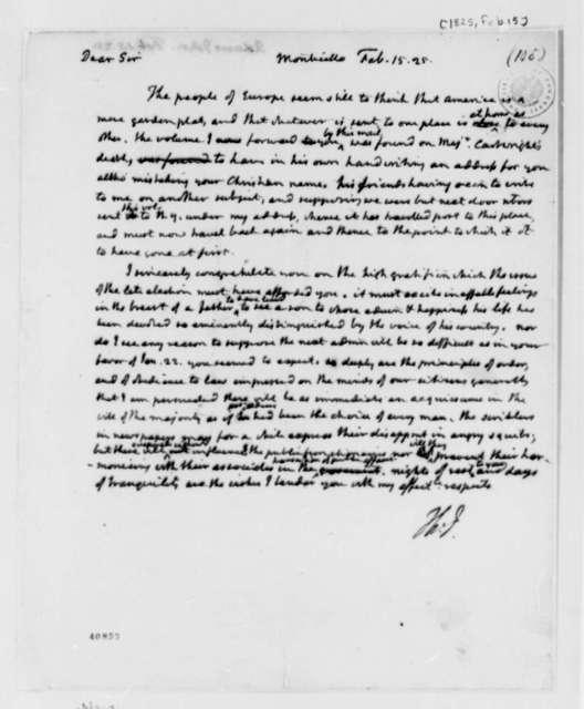 Thomas Jefferson to John Adams, February 15, 1825