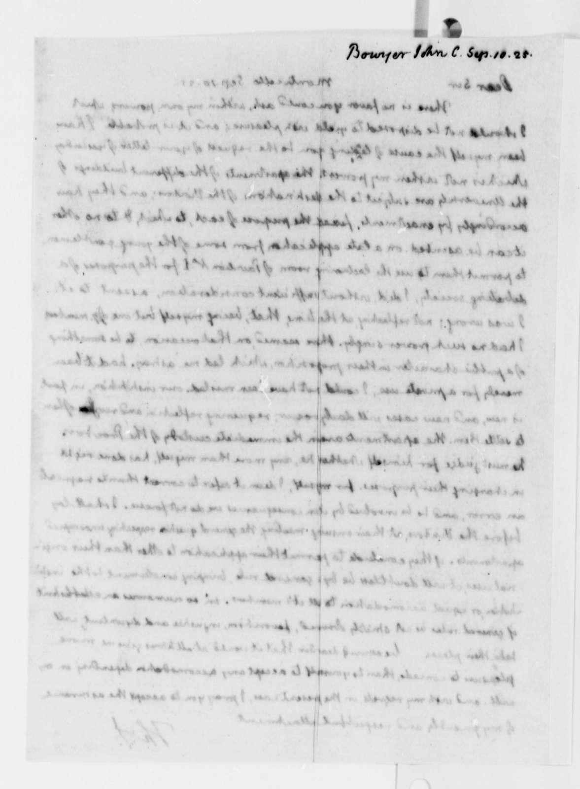 Thomas Jefferson to John C. Bowyer, September 10, 1825