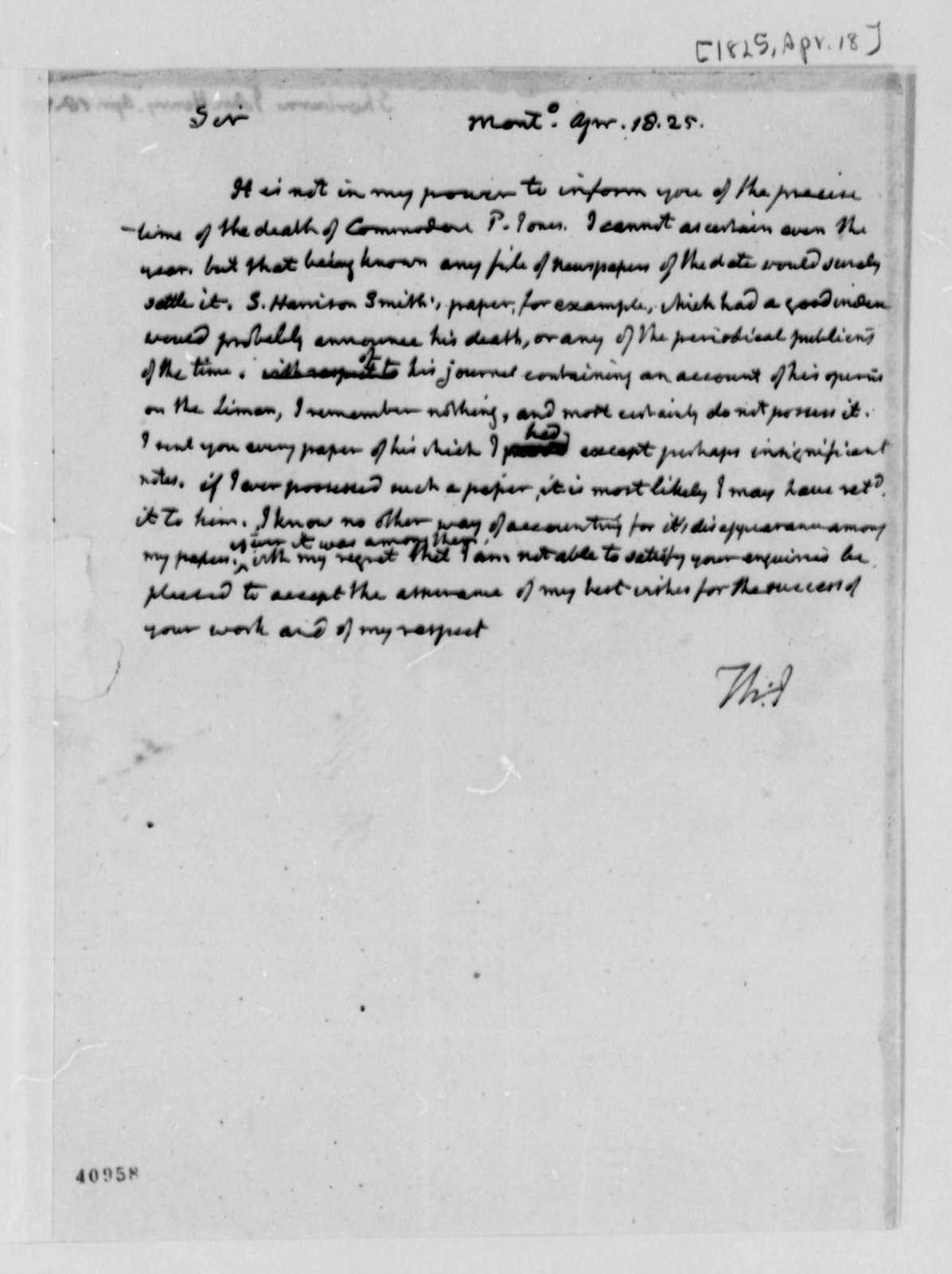 Thomas Jefferson to John Henry Sherburne, April 18, 1825