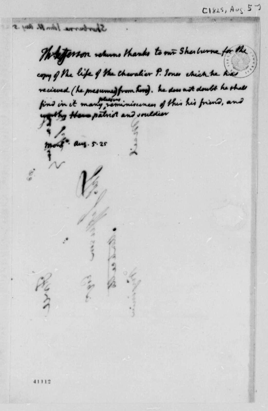 Thomas Jefferson to John Henry Sherburne, August 5, 1825