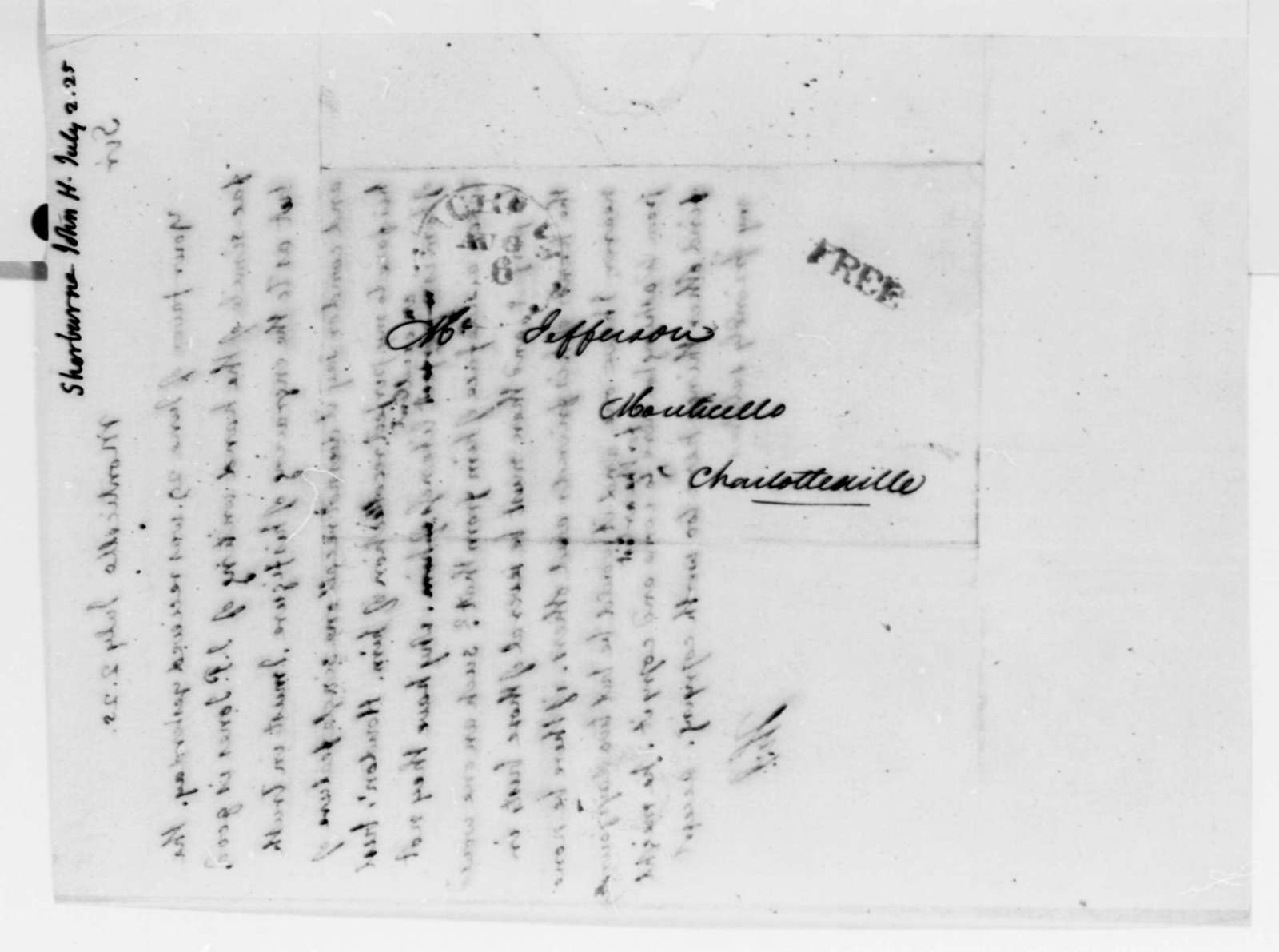 Thomas Jefferson to John Henry Sherburne, July 2, 1825