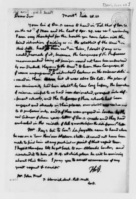 Thomas Jefferson to John Neal, June 28, 1825