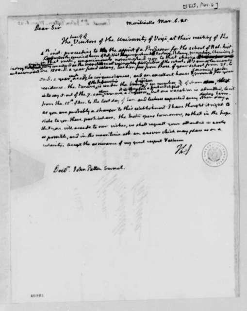 Thomas Jefferson to John Patten Emmet, March 6, 1825