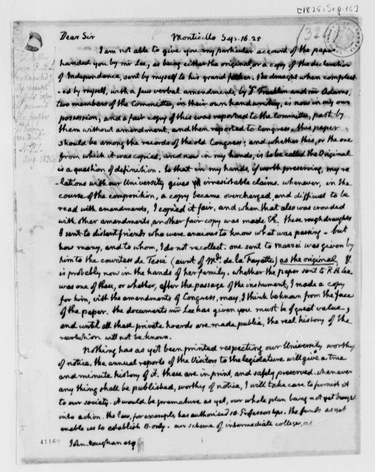 Thomas Jefferson to John Vaughan, September 16, 1825