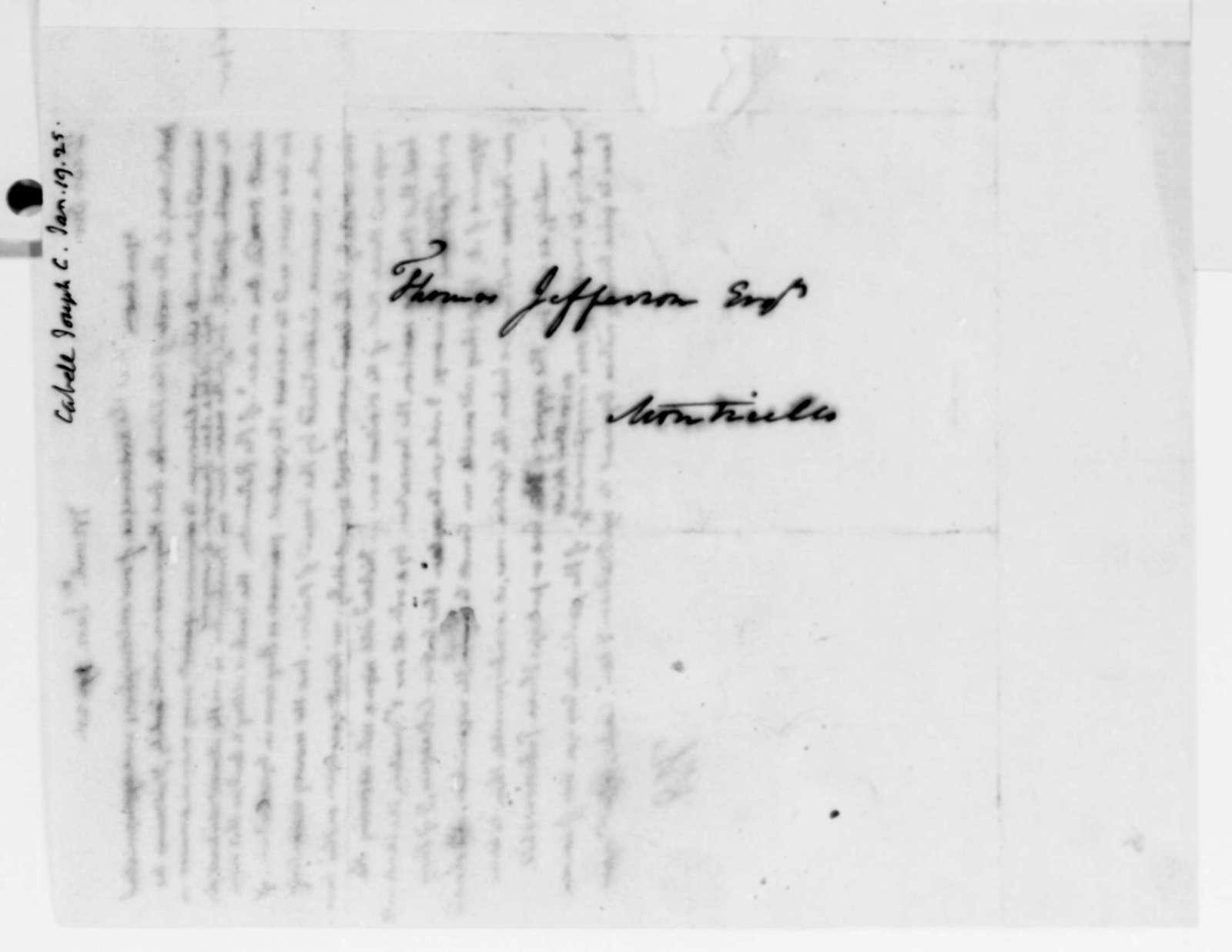 Thomas Jefferson to Joseph C. Cabell, January 19, 1825