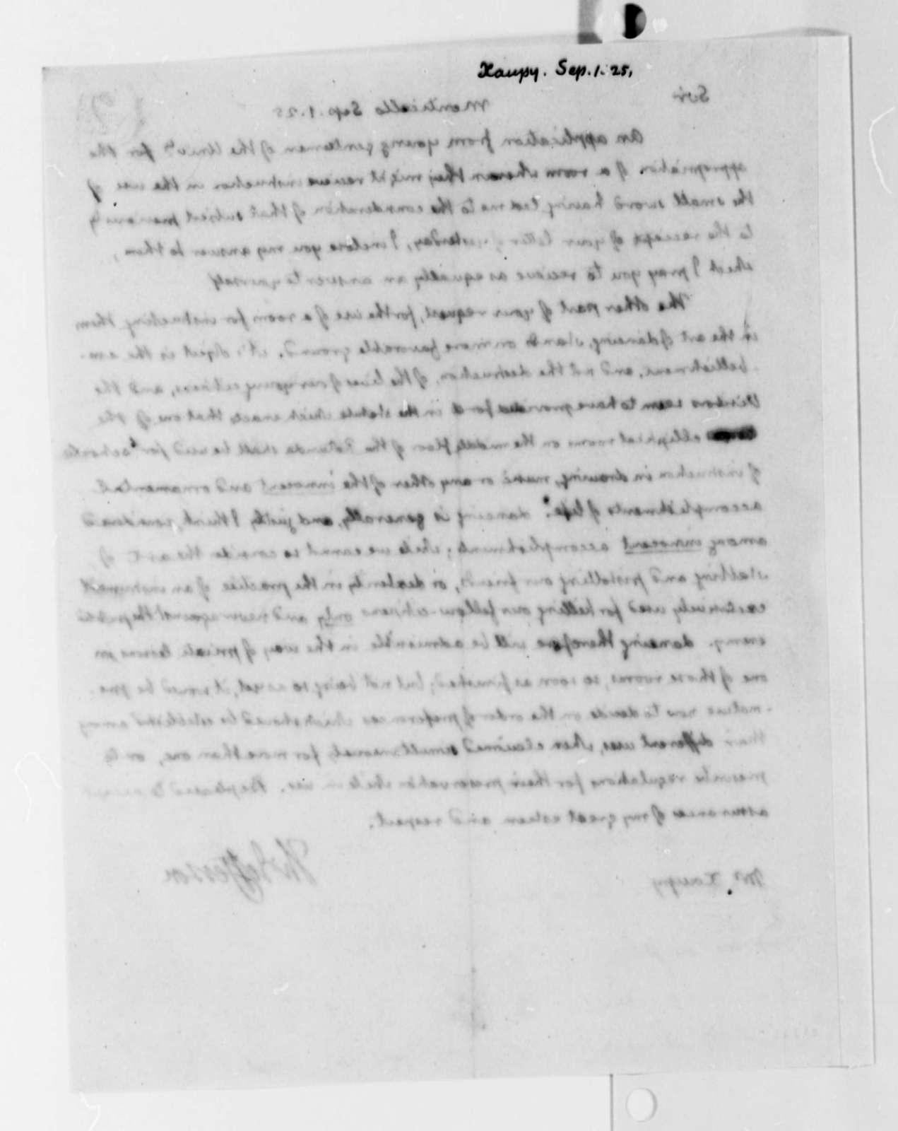 Thomas Jefferson to Louis Xaupe, September 1, 1825
