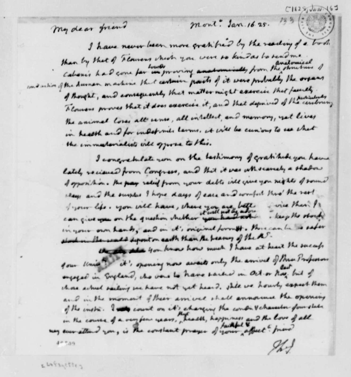 Thomas Jefferson to Marie Joseph Paul Yves Roch Gilbert du Motier, Marquis de Lafayette, January 16, 1825
