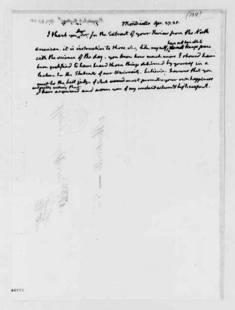 Thomas Jefferson to Nathaniel Bowditch, April 27, 1825