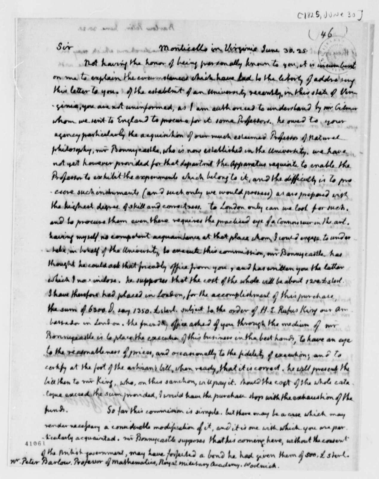 Thomas Jefferson to Peter Barlow, June 30, 1825