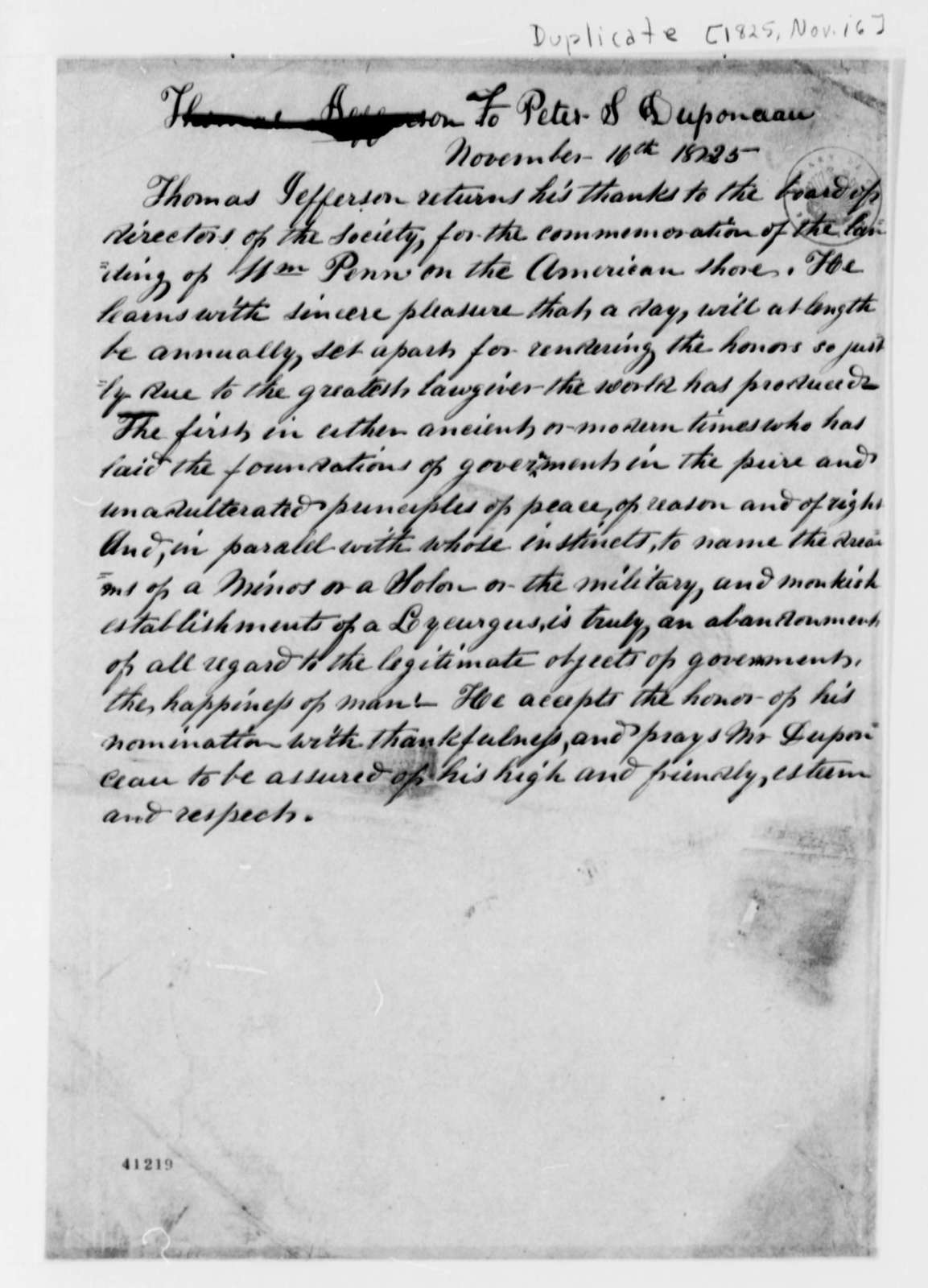 Thomas Jefferson to Peter S. du Ponceau, November 16, 1825, with Copy
