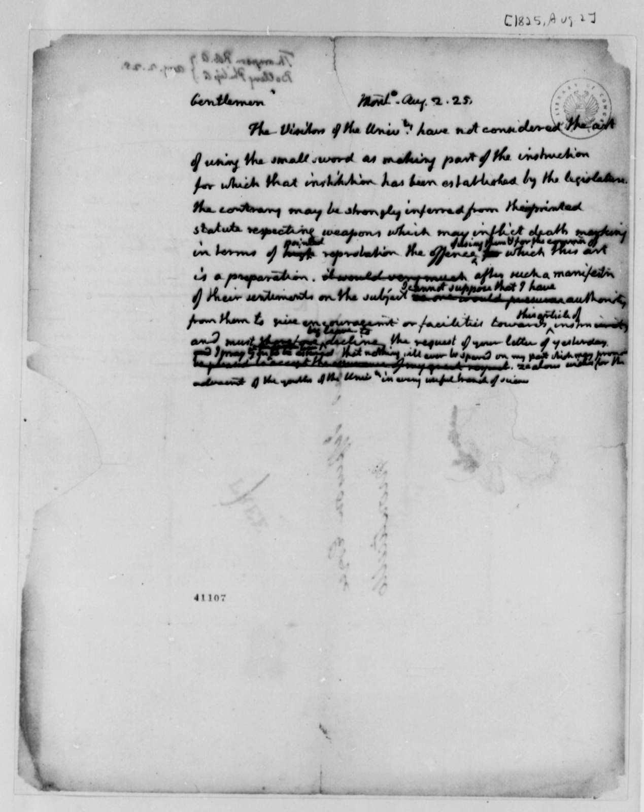 Thomas Jefferson to Philip A. Bolling and Robert A. Thompson, August 2, 1825, with Draft