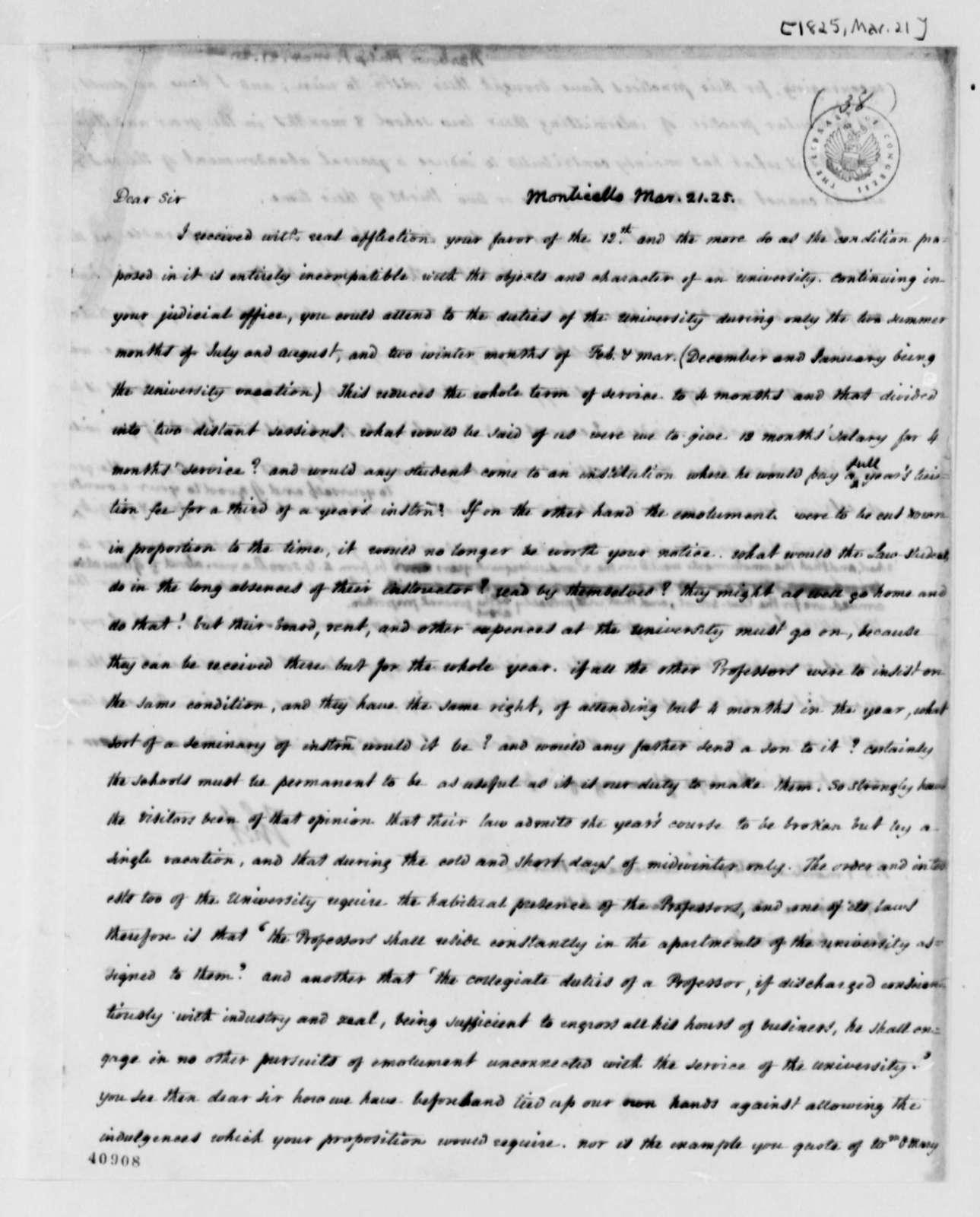 Thomas Jefferson to Philip P. Barbour, March 21, 1825
