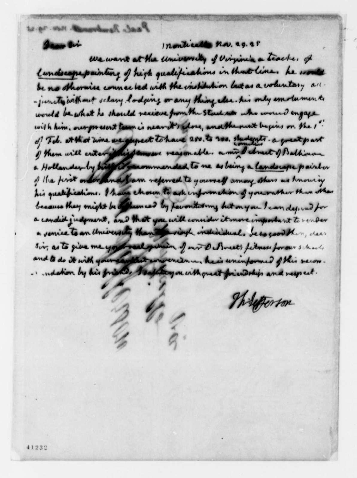 Thomas Jefferson to Rembrandt Peale, November 29, 1825
