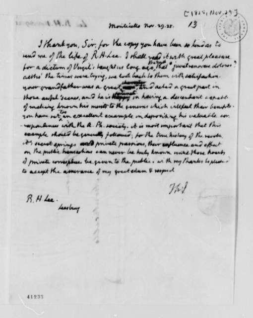 Thomas Jefferson to Richard Henry Lee, November 29, 1825
