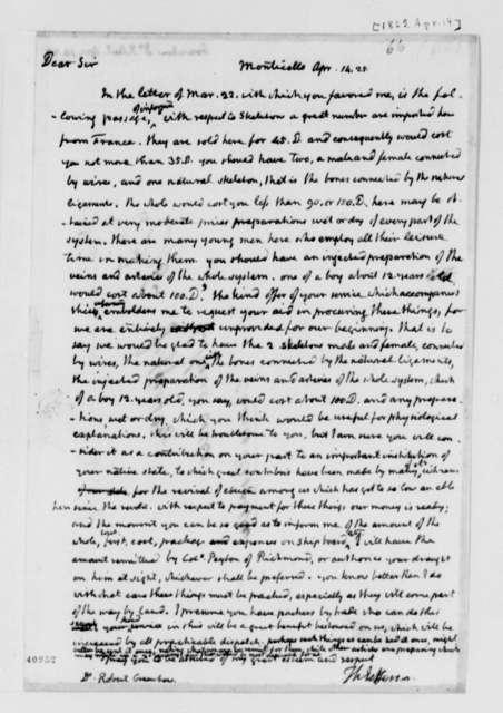 Thomas Jefferson to Robert Greenhow, April 14, 1825