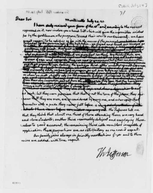 Thomas Jefferson to Robert Greenhow, July 24, 1825