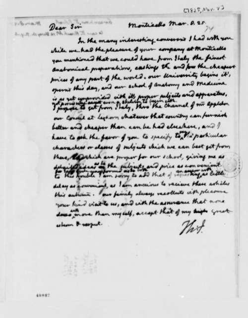 Thomas Jefferson to Robert Greenhow, March 8, 1825