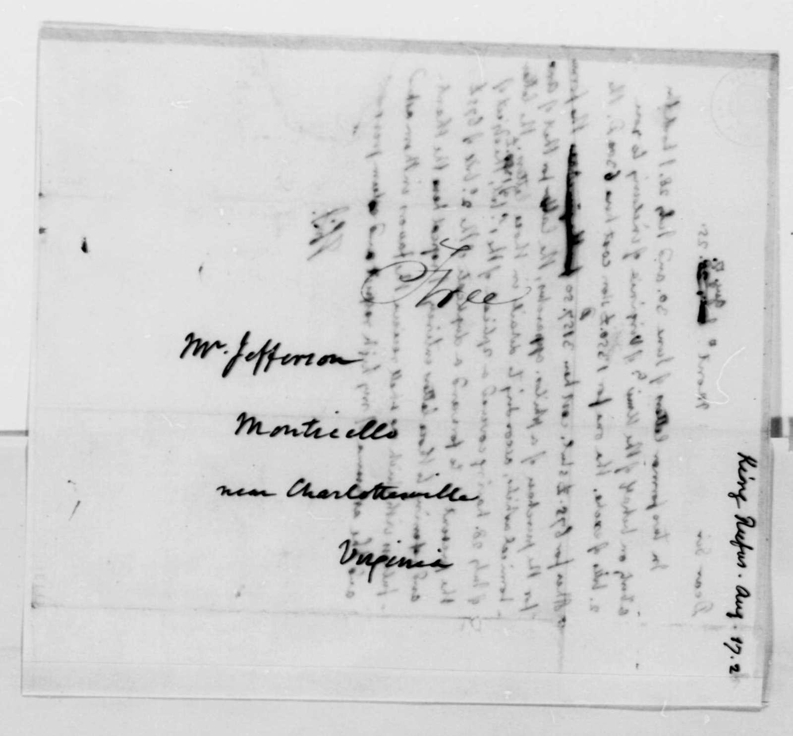 Thomas Jefferson to Rufus King, August 17, 1825