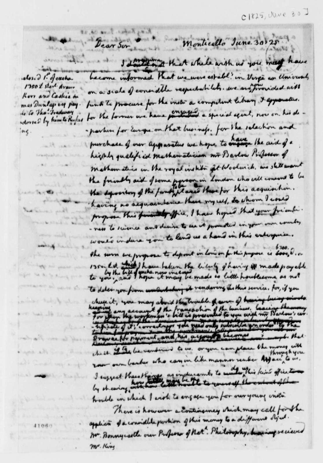 Thomas Jefferson to Rufus King, June 30, 1825