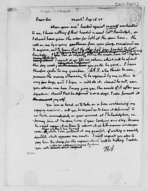 Thomas Jefferson to S. S. Heiskell, September 16, 1825