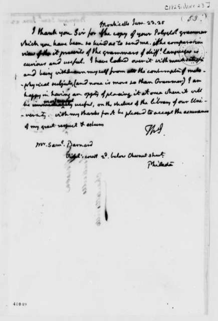 Thomas Jefferson to Samuel Barnard, June 23, 1825
