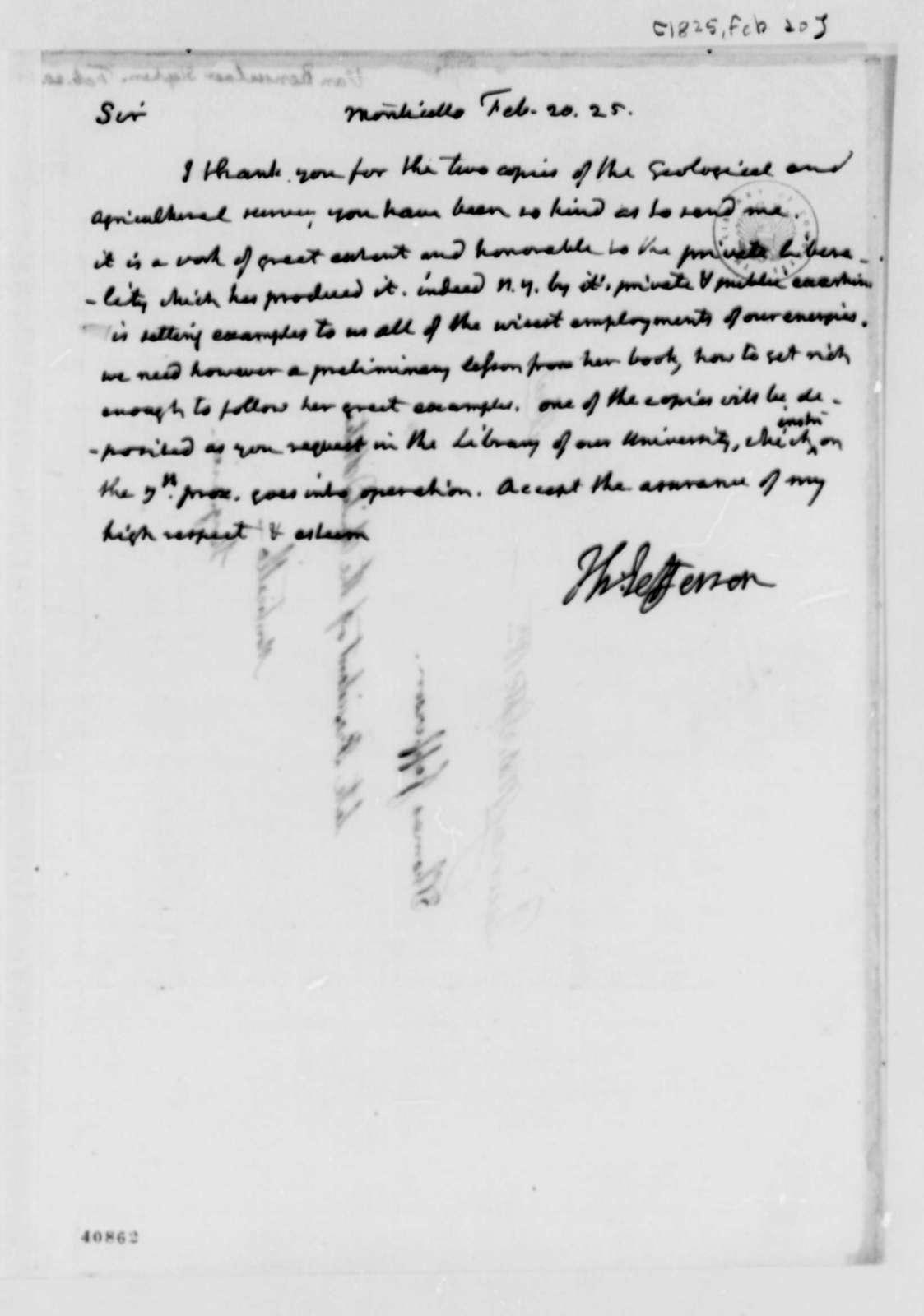 Thomas Jefferson to Stephen van Rensselaer, February 20, 1825