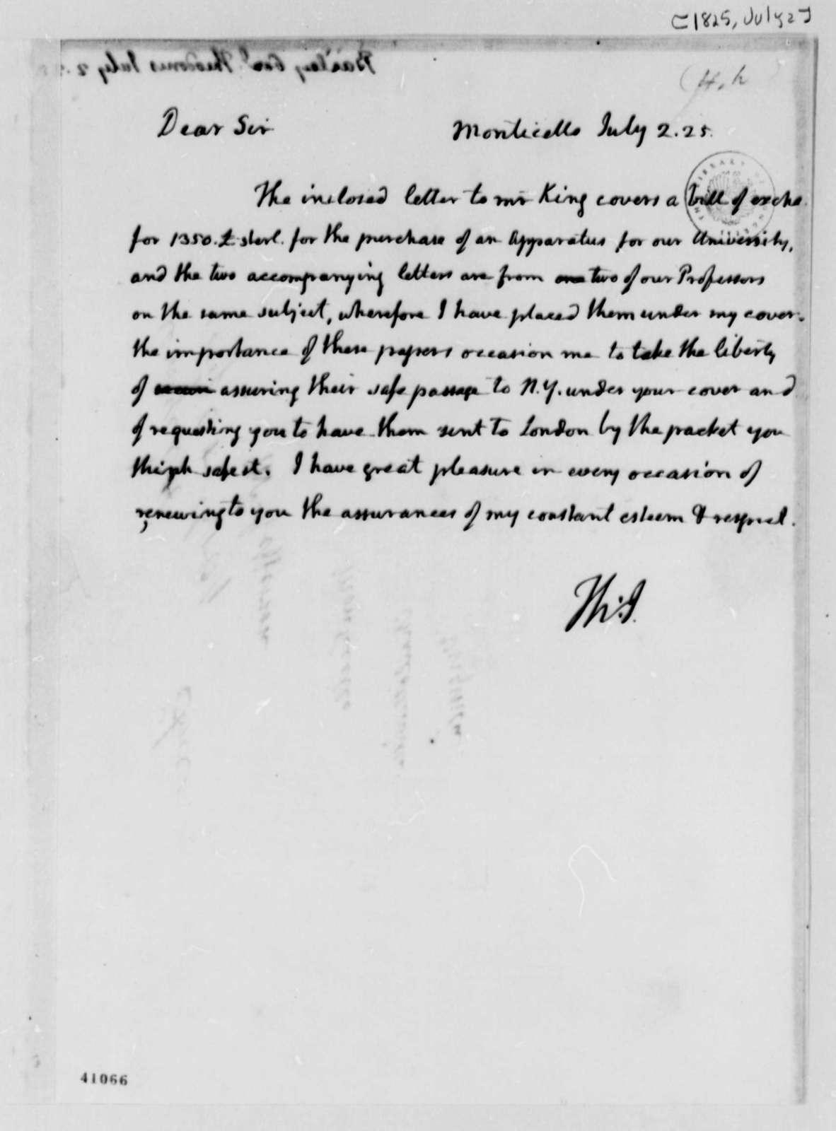 Thomas Jefferson to Theodorus Bailey, July 2, 1825