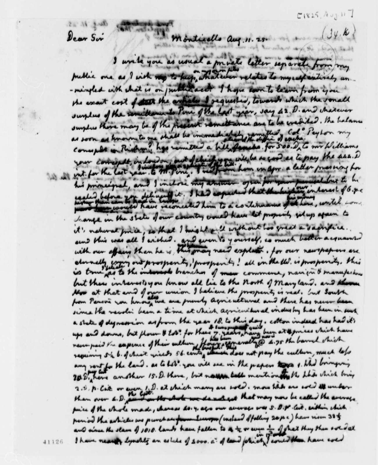 Thomas Jefferson to Thomas Appleton, August 11, 1825