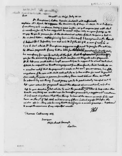 Thomas Jefferson to Thomas Calloway, July 28, 1825