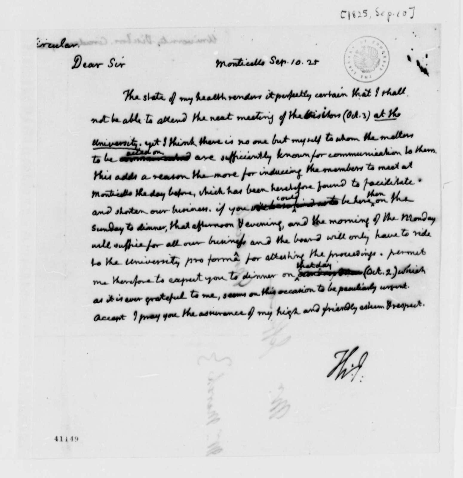 Thomas Jefferson to University of Virginia Board of Visitors, September 10, 1825