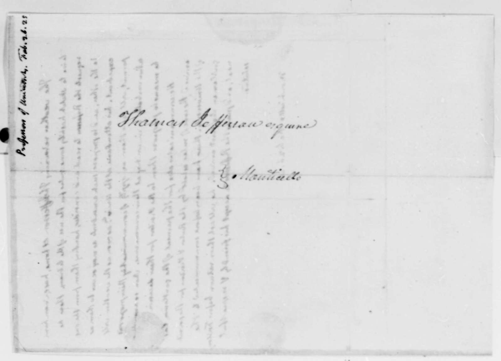 Thomas Jefferson to University of Virginia Professors, February 26, 1825, with Copy